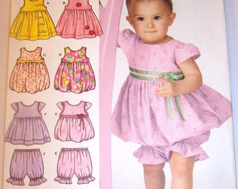 """Baby GIRL Toddler Sewing Pattern Simplicity #3854 Dress & Pantaloons 4-Styles Sizes XXS to Large UNCUT in Factory Folds by """"In K Designs"""""""
