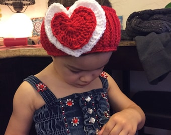 Handmade Crochet Headband/ Ear Warmer- Valentine's Day/ Heart