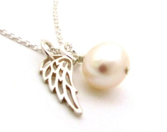Pearl angel necklace, Christian jewelry, Catholic necklace, first communion gift, guardian angel jewelry, sterling silver Catholic jewelry