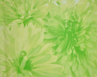 Extra Wide - One Yard of Lime Green Floral 100% Cotton Quilt Fabric