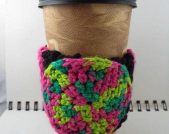 SALE - Black and Hot Pink Crocheted Coffee Cozy with Pinks and Greens Circular Pocket (SWG-A17)