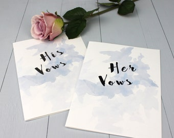 Wedding Vow Books, Bride And Groom Wedding Vows, Blue Watercolour Wedding Vow Book, Personalised Wedding Vow Booklet
