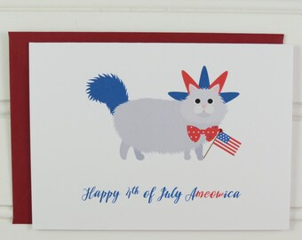 4th of July Card, Fourth of July, Cat Card, from the Cat, Funny Card, for Cat Owner, Mom, Dad, Friend, Girlfriend, Boyfriend, Cute Card