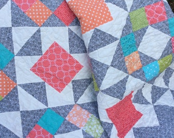 Modern Lap Quilt, Blue, Green, Coral, Pink, Gray Quilt, Handmade Quilt, Blanket, Patchwork Throw, Homemade Quilts for Sale