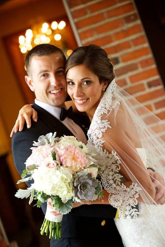 Wedding Veil, Bridal Mantilla Veil, Cathedral Veil, Handmade, Bride, Lace, Beads, Crystals, Gift