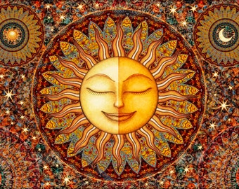 "Healing Sunshine Tapestry Wall Hanging Sun Moon Celestial 26""X40"" by Artist Dan Morris, washable"