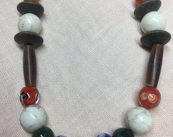 Viking beaded necklace,beaded necklace,viking inspired,boho,barbarian,colorful beaded necklace,natural stones,Viking,earthy,pagan,gypsy