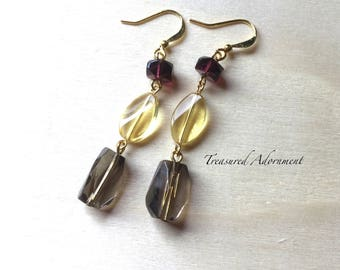 Long Earrings, Gray, yellow, burgundy glass beads, Autumn Earrings, Bridesmaids Earrings, Thank you gift, Xmas gift