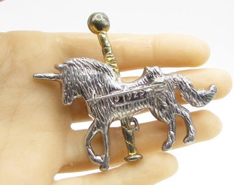 925 sterling silver - mystical carousel unicorn brooch pin - bp1031