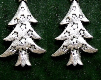 Christmas Tree Earrings Sterling Silver Free Domestic Shipping