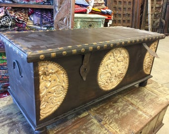 Spice Route Journey Vintage Tobacco Dark Brown Trunk Coffee Table, Circle Floral Carved Chest , Old Farmhouse Chic