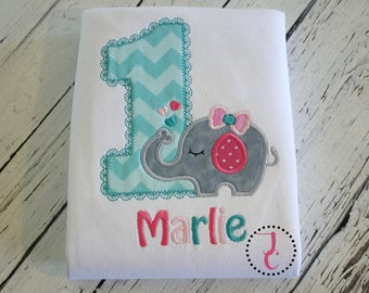 Baby Girl 1st Birthday Outfit - Elephant Birthday Shirt, 1st Birthday, Elephant Shirt, Jungle Birthday, Birthday Dress, Girls Birthday Shirt