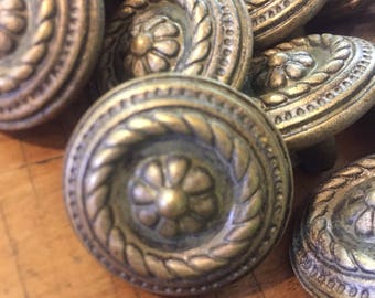 Brass Knobs, Drawer Pulls, Round Ornamental, Braided Detailing, Matte