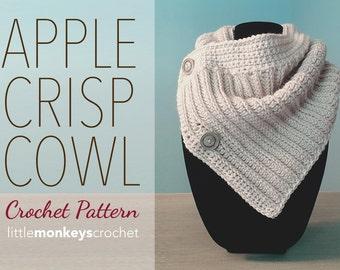 Apple Crisp Cowl Crochet Pattern PDF (The Apple Crisp Cowl Crochet Pattern by Little Monkeys Crochet) Cowl Crochet Pattern Buttoned Cowl