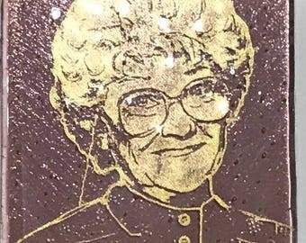 Estelle Getty Fused Glass Coaster, Golden Girls Coasters, Famous People Coasters