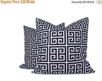 15% Off Sale Navy Pillow,Decorative pillow coverThrow Pillow Covers Navy Pillow Cover Navy Cream Pillow Greek Key Dark Blue Printed Fabric b