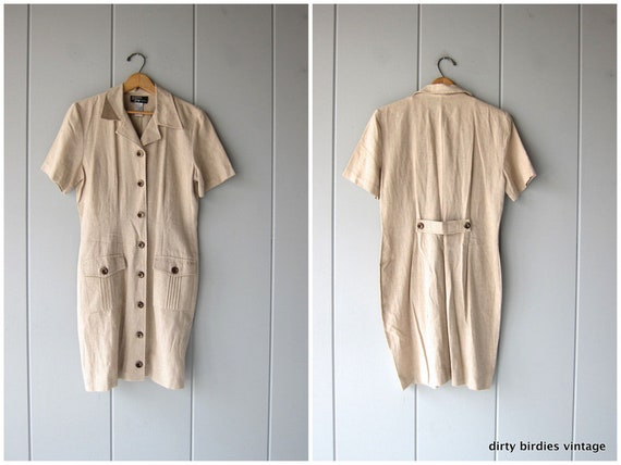 90s Minimal Safari Dress Short Sleeve Button Down Up Sheath Mini Dress Vintage Beige Sundress Casual Linen Dress Womens 7/8 Medium