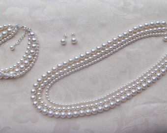 White Pearl Jewelry Set Wedding Multi Strand Necklace Bracelet Earrings Swarovski Pearl Necklace & Earrings Wedding Jewelry