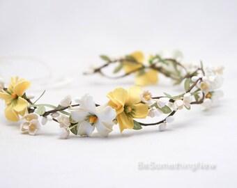 Yellow flower crown etsy mightylinksfo
