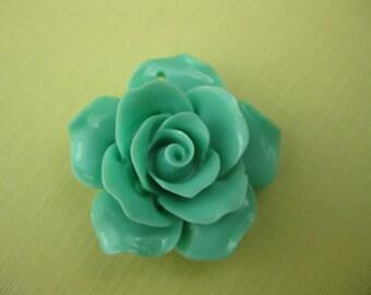 Vintage Teal Lucite Rose Pendant