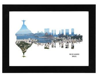 Rio de Janeiro Brazil City Skyline Print with aerial photo