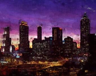 Atlanta Georgia Skyline Painting Poster Print