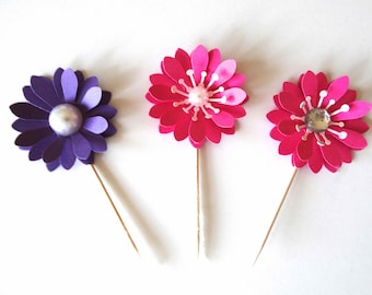 3D Flower Cupcake Topper, decorated pick, bridal shower decor, bling flower decor, birthday party, layered flower toppers, garden party