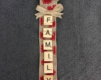 Handmade Scrabble Tile Ornament - Family