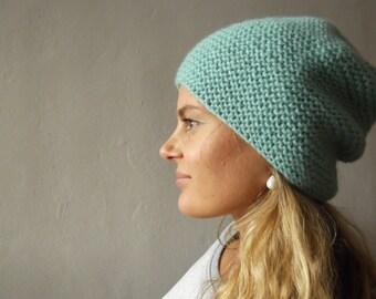 Hand knit wool beanie hat