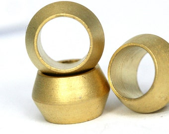 Brass spacer bead 10 pcs  gold plated brass sphere 8.8 x 5.6 mm (hole 6 mm) industrial brass charms, pendant, findings spacer bead bab6 1446