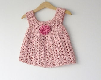 Baby sundress -  dusky pink - 6 - 9 months - crochet dress - beautifully soft organic cotton - daisy embellishment