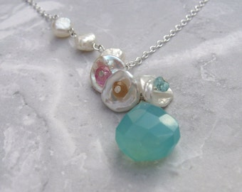 Keshi Bloom Design- Pearl Drop Necklace, Chalcedony, Pink Topaz, Apatite, Hessonite Garnet, Silver