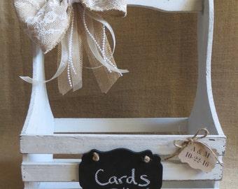 Shabby Chic Distressed Wedding Card Box, Wedding Card Holder, Money Box, Rustic Wedding Crate, Wedding Card Trunk, Wedding Chalk Board Sign