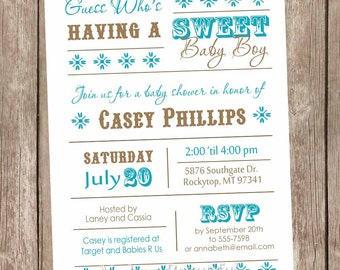 Boy Baby Shower Invitation, Sweet Baby Boy Baby Shower Invitation, blue brown, teal, aqua, turquoise, typography, printable invitation