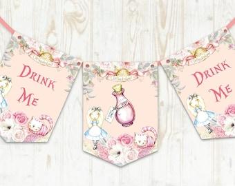 Alice in Wonderland Drink Me Bunting,, Alice Birthday, Wonderland Wedding, Drink Me Banner, Wonderland Decoration, Alice Party