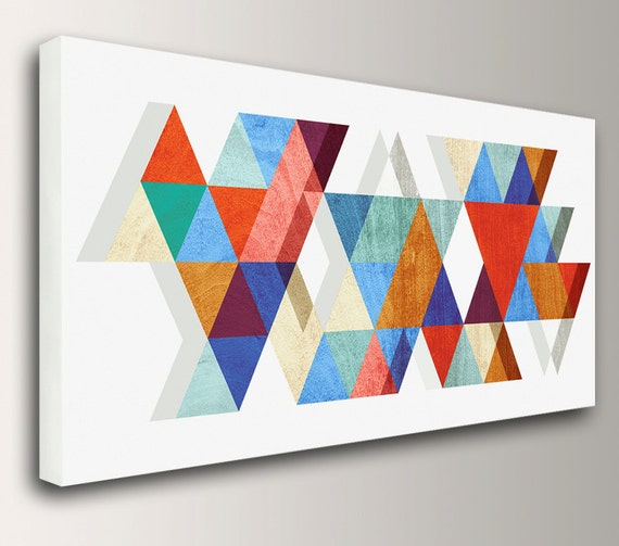"Mid Century Modern Art Geometric Print Canvas Print Canvas Wall Art Retro Mid Century Wall Art Available Up to 3x6 Feet ""Stagger"""