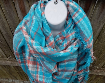 Turquoise / Coral Blanket Scarf