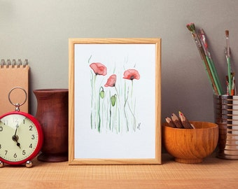 Poppy watercolor painting Watercolor flowers Floral watercolor Original art Wall art Home decor Womens gift