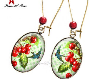 Earrings * cherry blossom and bird * glass bronze cherry red green