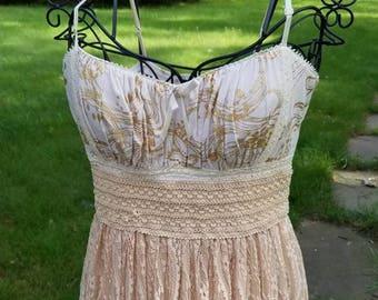 Creamy White and Gold Cowgirl Boho Gypsy Dress