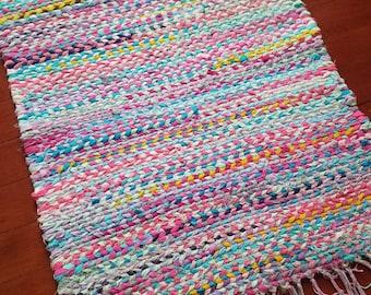 Hand Braided Rag Rug, Recycled Rag Rug, Hand Dyed Rag Rug