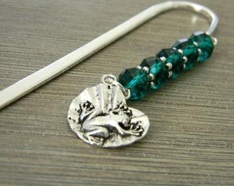 Frog Lilypad Bookmark with Green Beads Beaded Bookmark Shepherd Hook Steel Bookmark