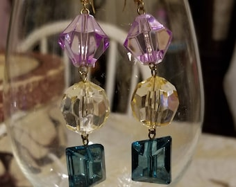 Purple, yellow and green drop earrings