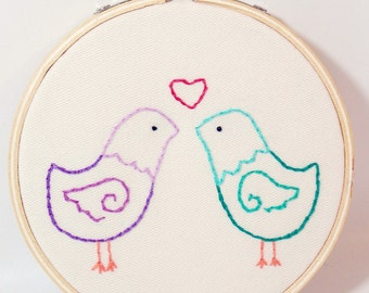 Love Birds Embroidery Hoop Art -   Love Birds Art - Wedding Gift - Anniversary Gift