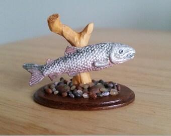 Dolls house miniature taxidermy effect salmon fish ornament 1.12 scale