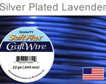 22ga. Lavender Soft Flex Wire, Round, Silver Plated, Non-Tarnish, Supplies, Findings, Craft Wire