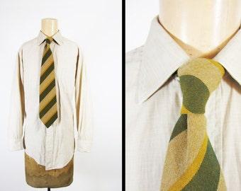 Vintage 70s Wool Tie Scotch House Striped Green Necktie Made in Scotland