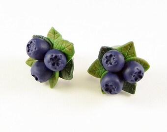 Siberian berry Stud Earrings - Polymer clay  - Blue Berries - Handmade jewelry blueberries