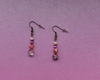 Pink drop earrings, pink heart earrings, teenage pink earrings, young girl earrings, pink earrings for teenager, pink earrings under 5 gift