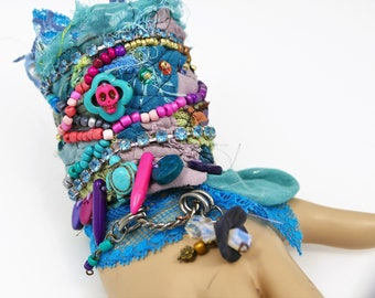 cuff style boho patchwork and seed beads